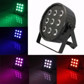 120W 9LED 8Channel RGBW 4 Colors in 1 Flat Slim Wash PAR Light Stage Effect Lamp Support DMX-512 Sound Activated Strobe Dimmable for Xmas Party Disco DJ Bar Show
