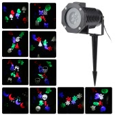 Tomshine 6W 4LED RGBW Outdoor Garden Landscape Lawn Garden Projector Spot Light Snowflake Film Lamp with 10PCS Replaceable Pattern Lens Cards for Halloween Christmas Xmas Festival Birthday Party Decoration