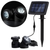 Lixada Solar Powered Super Bright 2 Underwater Lamps 12 LEDs Light Sensor Projector Light Garden Pool Pond Yard Submersible Spotlight Outdoor Landscape Lighting Use White