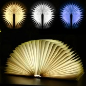 Lixada LED Rechargeable Folding Book Light 4.5W 500LM Battery-Operated Changeable Shape Table Floor Ceiling Bedside Lamp Practical and Beautiful Lighting Fixture Indoor Use White