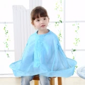 Child Kid Haircut Hair-Catcher Cape Barber Pockets Hairdressing Apron Blue