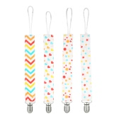 Pacifier Holder Clip Teething Toys Ring Chains Soother Holder Cotton Stainless Steel Clips Set 4 Pack For Baby Infant Girls and Boys Mix Color