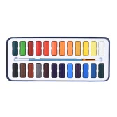 12 Colors Solid Watercolor Paint Pigment Set with Paintbrush Metal Box for Artist Students Drawing Painting Art Supplies