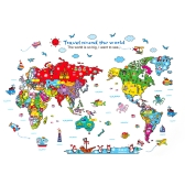 Colorful World Map Wall Sticker Cartoon Kids Room Decal PVC Mural Art Decor for Children Bedroom/Living Room/Hallway/Office