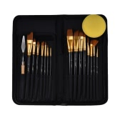 Professional Artist Paint Brush Kit Including 15pcs Nylon Hair Short Handle Watercolor Acrylic Gouache Oil Painting Brushes with Palette Tool Pop-up Stand Zippered Bag