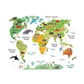 Wall Sticker Large Colorful World Map Sticker Educational Kids Room Animal Decal Mural Art Home Decor