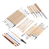 30pcs Clay Sculpting Pottery Carving Tools Set Colors Sharpers & Modeling Tools & Wooden Sculpture Scraper