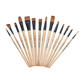14pcs/pack Nylon Hair Brush for Oil Acrylic Watercolor Painting w/ Handy Canvas Carrying Case Art Gift