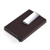 Automatic Pop-up Business Name Card Holder Case Box Synthetic PU Leather + Aluminum Alloy