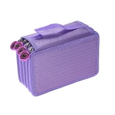 Multifunctional Large Capacity Painting Cosmetic Pencil Pen Brush Bag Case Box 4 Layer Zipper 72 Holders with Carrying Handle