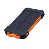8000mAh Solar Energy Panel Charger LED Light Double USB Ports Large Capacity Rechargeable Waterproof Non Slip Power Bank Portable Charger for Smartphone Camping