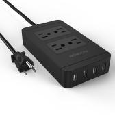 KKmoon 2500W 110-240V 4 US Standard Outlets 4 USB Ports Power Strip Socket Charger for Samsung iPhone Tablet