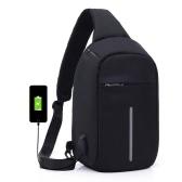 外部USBチャージ付きの盗難防止用スリングショルダーバッグサイクリング用クロスボディバッグバックパックアウトドアトラベルメンズレディースカジュアル反射ストライプブラック