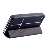 Magnetic Adsorption Smart Protective Stand Case Cover for iPhone 4 4S Multi-function Holder Headphone Bobbin Winder Black