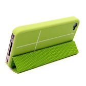 Magnetic Adsorption Smart Protective Stand Case Cover for iPhone 4 4S Multi-function Holder Headphone Bobbin Winder Green
