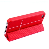 Magnetic Adsorption Smart Protective Stand Case Cover for iPhone 4 4S Multi-function Holder Headphone Bobbin Winder Red