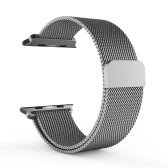 Milanese Stainless Steel Metal-net Mesh Strap Watchband Loop Magnet Lock Bracelet Adjustable Customized Replacement for Apple iWatch 38mm Fashion Design