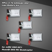 5Pcs 3.7V 420mAh 20C Lipo Battery Kit for JJRC H21 HuanQi 868 RC Quadcopter