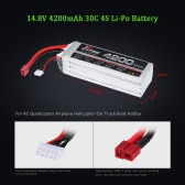 JHpower 14.8V 4200mAh 30C 4S Li-Po Battery with T Plug for RC Helicopter Airplane Cars Truck