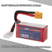 OCDAY 11.1V 1300mAh 75C 3S High Discharge LiPo Battery with XT60 Plug for RC 150-280 Racing Quadcopter QAV180 QAV250 ZMR250 Drone