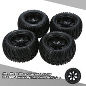 4Pcs Black Wheel Rim and Tire for 1/10 HSP Tamiya Kyosho Off-road RC Car