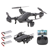 8807W 720P Wide Angle Camera Wifi FPV Foldable Drone 6-Axis Gyro Altitude Hold Headless Mode G-sensor RC Quadcopter with 2 Extra Batteries