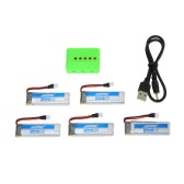 5Pcs Original JJRC H37-0001 3.7V 500mAh 20C LiPo Battery and 5-Port Charger Set for JJRC H37 E50 Selfie Drone RC Quadcopter