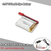 3.7V 750mAh Lipo Battery for MJX X800 X300 RC Drone