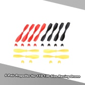 6 Pair CW/CCW Propeller for CTW-Mini110 120 130 Micro Racing Drone 1mm Shaft Coreless Motor