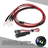 4 LED Lights Kit 2 White 2 Red for 1/10 1/8 Traxxas HSP Redcat RC4WD Tamiya Axial SCX10 D90 HPI RC Car