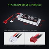 JHpower 7.4V 2200mAh 30C 2S Li-Po Battery with T Plug for RC Car Boat Airplane Helicopter
