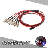 6 LED Light Kit 2 White 2 Red 2 Blue for 1/10 1/8 Traxxas HSP Redcat RC4WD Tamiya Axial SCX10 D90 HPI RC Car