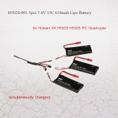 3psc H502S-001 7.4V 15C 610mAh Lipo Battery with 3 in 1 Charge Cable for Hubsan X4 H502S H502E RC Quadcopter