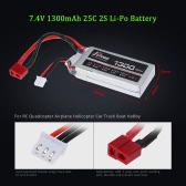 JHpower 7.4V 1300mAh 25C 2S Li-Po Battery with T Plug for RC Car Boat Airplane Helicopter