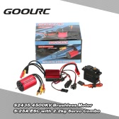 GoolRC S2435 4500KV Brushless Motor S-25A ESC with 2.2kg Metal Gear Servo Upgrade Brushless Combo Set for 1/16 1/18 RC Car Truck