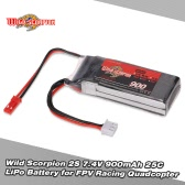 Wild Scorpion 2S 7.4V 900mAh 25C JST Plug LiPo Battery for 130GT FPV Racing Quadcopter RC Car Boat