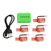 GoolRC 5Pcs 3.7V 150mAh 30C Li-po Battery and 5-Port Charger for JJRC H8 Mini RC Drone