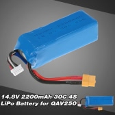 14.8V 2200mAh 30C 4S LiPo Battery with XT60 Plug for QAV250 300 RC Quadcopter Multicopter