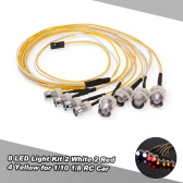 8 LED Light Kit 2 White 2 Red 4 Yellow for 1/10 1/8 Traxxas HSP Redcat RC4WD Tamiya Axial SCX10 D90 HPI RC Car