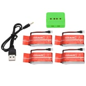 GoolRC 4Pcs 3.7V 600mAh 25C Lipo Battery and 4-Port Charger Set for Syma X5C X5SC X5SW JJRC H5C Topselling Q7 Quadcopter QX80 QX90 QX95 100mm Micro Indoor Drone
