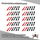 30 Pairs Mini 55mm CW/CCW Propeller for 0720 8520 1mm Shaft Coreless Motor QX80 QX90 QX95 100mm 110mm RC Micro Indoor FPV Drone