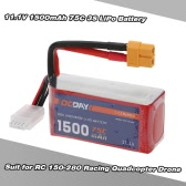 OCDAY 11.1V 1500mAh 75C 3S High Discharge LiPo Battery with XT60 Plug for RC 150-280 Racing Quadcopter QAV180 QAV250 ZMR250 Drone