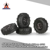 4Pcs AUSTAR AX-4020A 1.9 Inch 110mm 1/10 Rock Crawler Tires with Alloy Beadlock Wheel Rim for D90 SCX10 AXAIL RC4WD TF2 RC Car