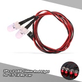 2Pcs 2 LED 10mm Red Light Taillights Kit for 1/5 1/8 Traxxas HSP Redcat RC4WD Tamiya Axial SCX10 D90 HPI RC Car
