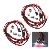 2 Sets 1/10 1/8 Upgrade Parts 4 LED Light Set Headlight Taillight for HSP RC Monster Truck Cars