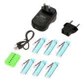 6 in 1 WSX-X6A Charger Set with 6 pcs 3.7V 520mAh Li-po Battery for WLtoys V977 V930 Cheerson 6050 RC Helicopter