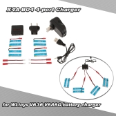 Super Fly 4-port Fast Charger Sets with 3.7V 750mAh Lipo Battery for RC Helicopter / Quadcopter JST Charging Cable for WLtoys V636 V686 V686G