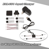 Super Fly 4-port Fast Charger Sets with 3.7V 200mAh Lipo Battery for RC Helicopter / Quadcopter WLtoys V911 V911-1 V911-2 F929 F939