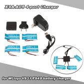 Super Fly 4-port Fast Charger Sets with 3.7V 500mAh Lipo Battery for RC Helicopter / Quadcopter WLtoys V931 F949