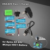 Super Fly 5-port Fast Charger Sets X5A-A04(VA12A) with 3.7V 600mAh Lipo Battery for RC Helicopter / Quadcopter Syma X5 X5C X5A X5SC X5SW Cheerson CX-30 CX-30W CX-30S JJRC H5C H9D WLtoys V931 F949